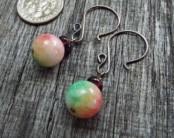 Sterling Silver Garnet and Candy Jade Earrings Red Green and Ivory