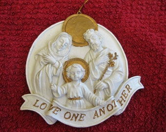 Love one Another Holy Family ornament  Very good Original owner personal collection Nativity ornaments