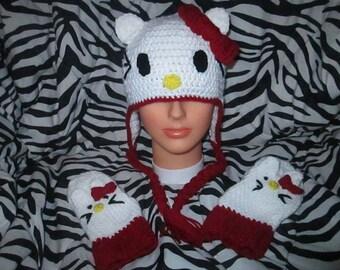 Crochet Hello Kitty Hat Set, Crochet Hello Kitty, Hello Kitty Hat, Hello Kitty Mittens, Girls Mittens, Crochet Hat, Girls Accessories, Kitty