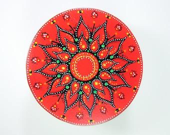 Bright Red Floral handpainted keepsake box