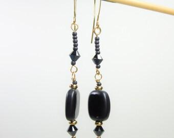 Elegant Black Glass Dangle Earrings