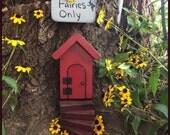 Fairy Door that opens, fairy garden, garden decor, Gifts for her,  Garden, Birthday, Housewarming, Outdoor, Red Fairy Door, Reclaimed Wood