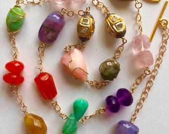 14K Solid Gold, Rose Cut Diamond Bead and Multi Gemstone Nugget Necklace, Green Tourmaline, Amethyst, Peruvian Opal, Carnelian, Rose Quartz