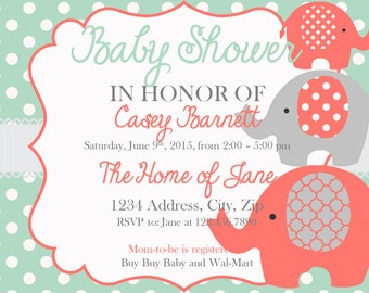 Baby Shower Invitation Elephant Girl Baby Shower Invites Coral-Instant Download
