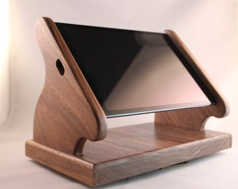 Black Walnut iPad Mini Stand with Swivel Base for Square, and other POS card readers -