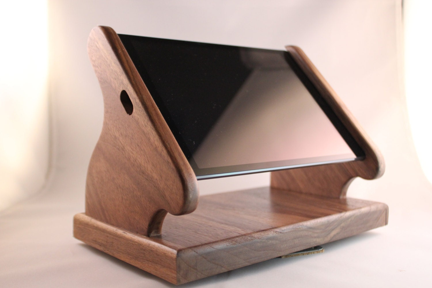 black walnut ipad mini stand with swivel base for square and