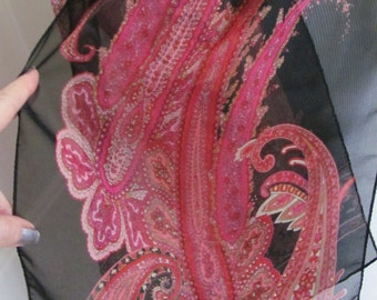 "Scarf Black Pink Paisley Soft Sheer Fashion Scarf 10"" x 50"" Long - Affordable Scarves!!!"