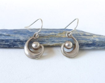 Vintage Sterling Silver Spiral Dangle Earrings