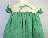 Vintage Green Polka Dot Dress with Off-White collar- size 12 and 18 months- New, never worn