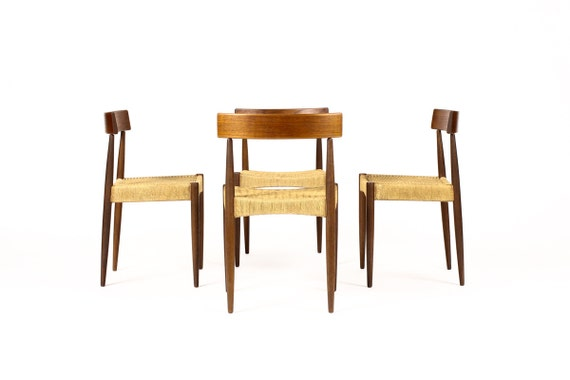 danish modern mid century teak dining chairs set of 4 danish