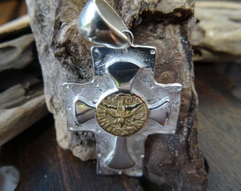 Two tone cross. Sterling silver and 18k gold field. Holy Spirit cross.