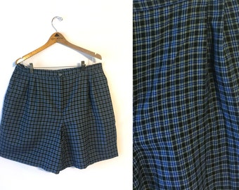 90s Black Blue Plaid High Waisted Shorts Womens 20 Plus Size