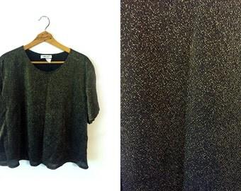 80s Sparkly Black Blouse Shirt Womens 1X Plus Size