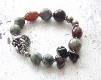 Dragon bead bracelet Green Girl studios dragon bead African turquoise bracelet primitive boho bracelet stretch bracelet gemstone bracelet