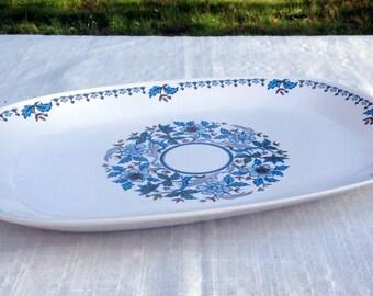 "Noritake 13"" BLUE MOON  Progression Platter Blue White & Green Floral Pattern  Oval Serving Platter Japan 1969 - 80  Excellent Condition"