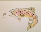 Rainbow Trout Card Man Card Men's Card Watercolor Fish Card Nature Card Blank Card
