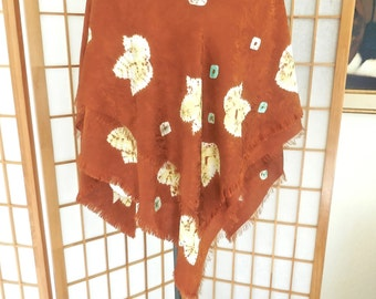 Vintage 80s Silk Scarf in Rust with Yellow Batik Leaves and Fringed Edges