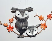 Owl mobile: Silver and grey Great Tufted Owl Family, Woodland wall hanging, Silver wedding anniversary gift