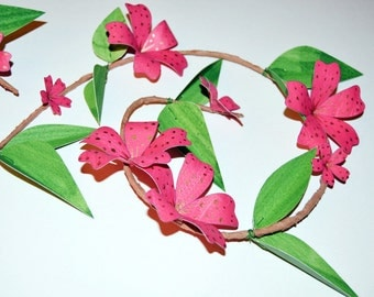 Pink flower wall hanging, cherry blossom decoration, hot pink floral vine