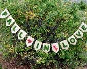 FALL IN LOVE Banner-Wedding Garland-Wedding Banner-Moss Letters-Moss Banner-Fall Wedding-Burlap Banner-Moss Letters-Fall Bridal Shower Decor