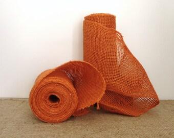 orange burlap ribbon, garland, Halloween decor