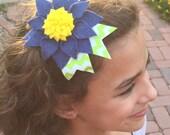 Gerbera beauty with chevron ribbon detail. Baby/toddler, girl headband