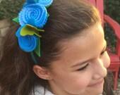 Blue blossom/butterfly headband