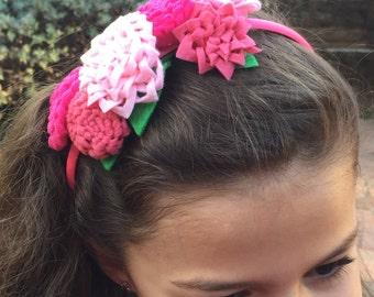 Pink blossom felt headband