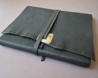 Black Bound Leather Journal Planner THINLINE Art Sketchbook Custom Order (523B)