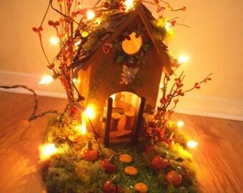 Enchanting .. Fall Fairy House....Lights ....Pumpkins...OOAK