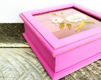 Handpainted Jewelry Box - Lilac Pink with Flowers - Upcycled Vintage Modern