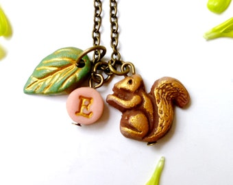 Squirrel Necklace, Letter Necklace, Gift for 3,4,5,6,7,8,9,10 year old girl, personalized girl jewelry, woodland animals, Forest creatures