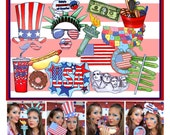 USA Photo Booth Props -for your patriotic party, 4th of July celebration, Memorial Day or if you just love the United States of America