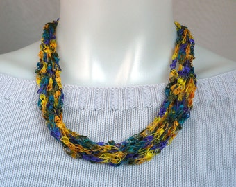 Teal, Gold & Purple Ladder Yarn Necklace, Ribbon Necklace, Fiber Jewelry, Vegan Jewelry, Girl's Necklace