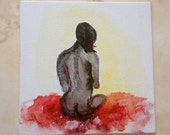Miniature Canvas painting, watercolor and ink , 4 x 4 small painting,watercolor on canvas, art gift idea, nude, woman, free shipping
