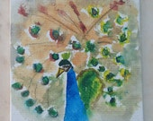 Peacock miniature painting, tiny nature painting, bird, colorful watercolor on gesso board, tiny canvas