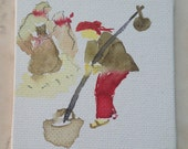 Tiny miniature painting, woman painting, grainary, colorful watercolor on gesso board, tiny canvas