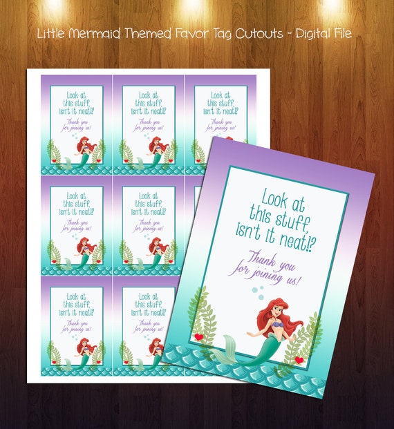 little mermaid themed baby shower favor tags digital instant download