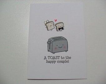 Engagement/Wedding Card - Wedding Shower Card - Toaster Pun Card - BLANK Inside