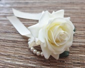 Wrist Corsage, Off White Rose with Ivory ribbon on pearl bracelet