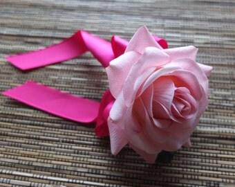 Men's Boutonniere, Pink & fuchsia Boutonniere, Pink Rose with fuchsia ribbon and rhinestone accent