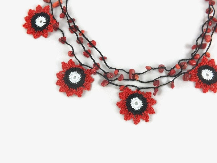 crochet necklace three strand turkish oya crochet lace by