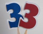 Single Number Cupcake Toppers - Girls - Boys - Custom Numbers