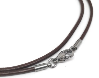 Brown Leather Cord Necklace (16 - 30 Inch), 2mm, Stainless Steel Clasp, Plain Necklace Chain, Choker