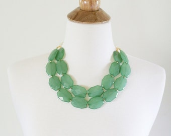 Sea Green Statement Necklace, Double Strand Green Necklace, Green Bib Necklace, Green Bridesmaid Necklace