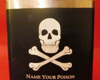 """Vintage Skull and Crossbones Stainless Steel Flask with """"Name your Poison"""" 6 ounces"""