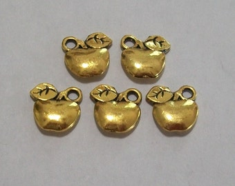 5 Pieces Antique Gold Apple Charms