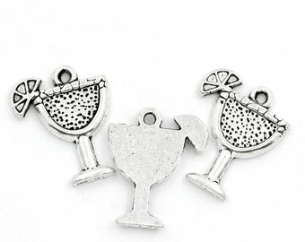 10 PCs Antique Silver Tropical Drink Charms