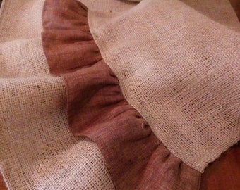Natural Burlap Table Runner with Brown Ruffles - Various Lengths Available