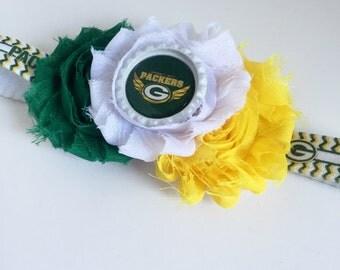 Green Bay Packers Headband Baby Newborn Infant Toddler NFL Football Sports Elastic Headband Shabby Flower